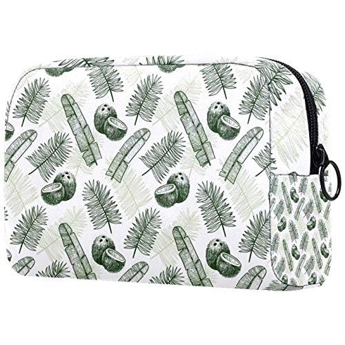 KAMEARI Bolsa de cosméticos Tropical Palma Hojas de Fruta Verde Oscuro Dibujado Grande Bolsa de Cosméticos Organizador Multifuncional Bolsas