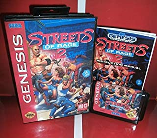 MD games card - Streets of Rage 2 US Cover with Box and Manual For Sega Megadrive Genesis Video Game Console 16 bit MD card - Sega Genniess - Sega Ninento, 16 bit MD Game Card For Sega Mega Drive