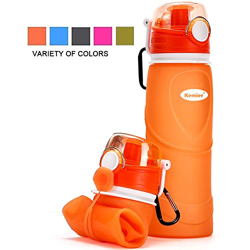 Kemier Collapsible Silicone Water Bottles-750ML,Medical Grade,BPA Free.Can Roll Up,26oz,Leak Proof Foldable Sports & Outdoor Water Bottles (Orange)