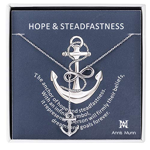 Annis Munn Anchor Infinity Pendant Women Necklace 925 Sterling Silver Women Jewelry Y shaped Adjustable Necklace for Teen Girls Best Gift for Her