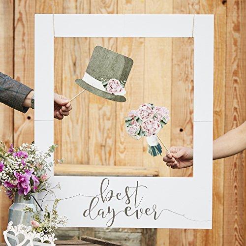 Ginger Ray Best Day Ever Bilderrahmen für Hochzeiten, Polaroid, rustikal, Grau