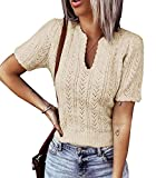 Womens Spring Short Sleeve Sweater Shirt V Neck Lightweight Crop Tops Knit Pointelle Cute Soft Pullover Sweaters Apricot