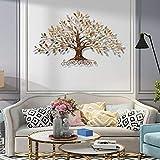 HQL Decoración de Arte de Pared de árbol de la Vida, Escultura de Pared de Metal de Hoja de árbol, decoración Creativa para Colgar en la Pared en 3D,30' W x 18' H(77x45cm)
