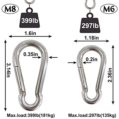 Fltaheroo 6Pcs Steel Spring Snap Hook Carabiner, Small Carabiner, Steel Clips for Flags Climbing(M6 and M8)