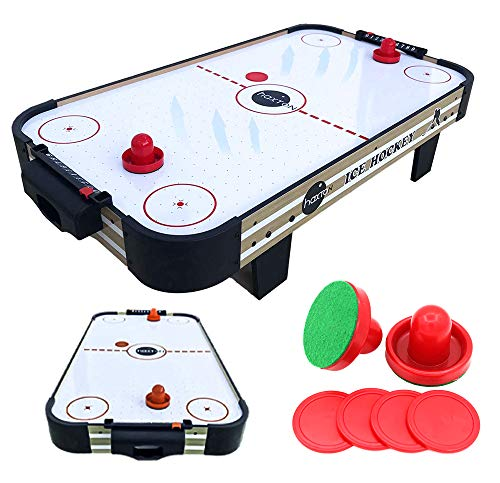 haxTON Air Hockey Table with air Hockey Pucks and Paddles, Mini Air...