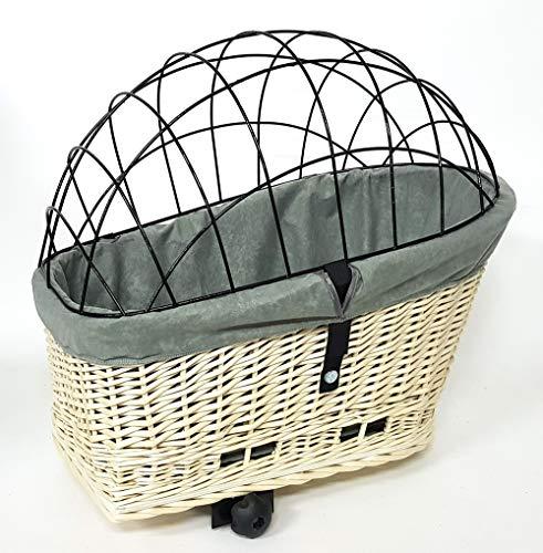 Tigana - Hundefahrradkorb für Gepäckträger aus Weide Natur 56 x 36 cm mit Metallgitter Tierkorb Hinterradkorb Hundekorb für Fahrrad (W-S) (XL + Kissen + Einlage G1)