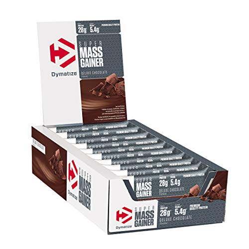 Dymatize Super Mass Gainer Bar Chocolate 10x90g - High Protein Weight-Gainer Riegel + Whey und Casein Protein