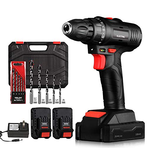 HRYHY Cordless Drill, 20V Max Lithium-Ion Drill Driver Kit with 2 Variable Speed, 18+1 Torque Setting, Built-in LED for Drilling Wood,Metal, Includes Toolbox