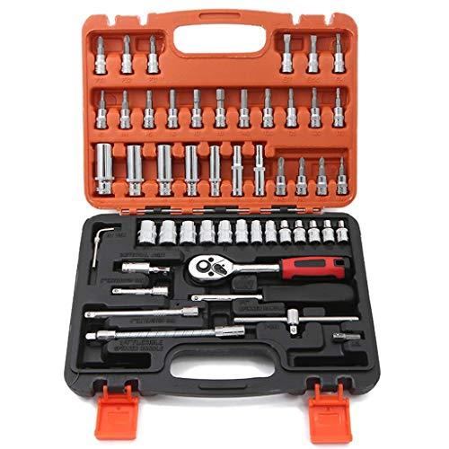 WSJ Werkzeugset 53-teiliges Handwerkzeug- und Steckschlüsselset, Haushaltswerkzeugset mit Werkzeugkoffer für Männer und Frauen