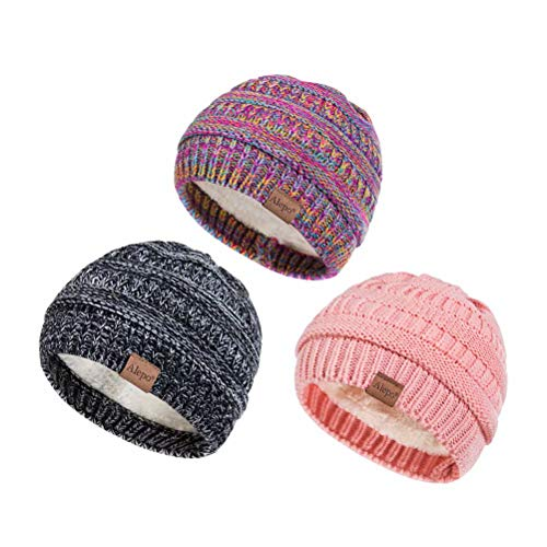 Alepo Fleece Lined Baby Beanie Hat, Infant Newborn Toddler Kids Winter Warm Knit Cap for Boys Girls (Black White&Rainbow&Pink)