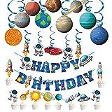 Decoración de cumpleaños para guardería, astronauta espacial, cohete con turbillones, banderas de banderas de cumpleaños para niños