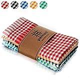 pamuq paños de cocina de algodón 100% | paquete de 5 | 45 x 65 cm a cuadros | con colgador | diferentes colores | trapos de cocina | toallas de cocina