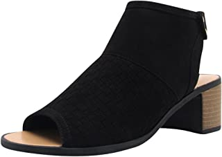 Cambridge Select Women's Open Toe Woven Cutout Chunky Stacked Block Mid Heel Ankle Bootie