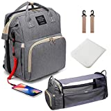 3 in 1 Diaper Bag Backpack with Changing Station, Diaper Bag for Baby Boys Girls with USB Port and Foldable Travel Bed, Large Capacity, Waterproof, Unisex Stylish Baby Bag for Dad Mom