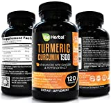 BE HERBAL Organic Turmeric Curcumin 1500mg with Ginger & Black Pepper - The Most Potent Certified Organic Turmeric Curcumin Supplement with 95% Curcuminoids - 120 Veg Capsules
