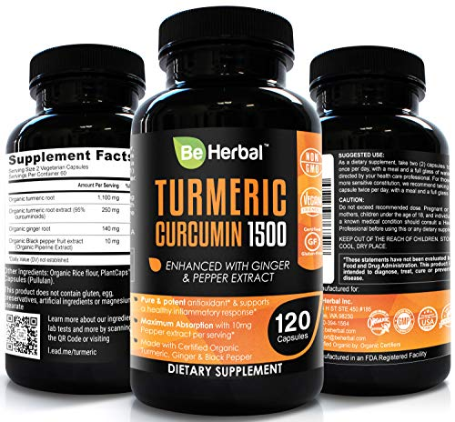 Be Herbal Organic Turmeric Curcumin With Bioperine 1500Mg - The Most Potent Turmeric Curcumin Supplement With 95% Standardized Curcuminoids - Enhanced With Ginger Extract - 120 Veg Capsules