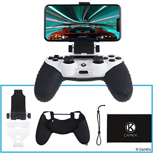 CAMKIX Telefonhalterung und Silikonhülle für PS4 Controller - Ideal für PS4 Remote Play / Mobile Gaming - Einstellbarer Betrachtungswinkel - Perfekte Passform Grip