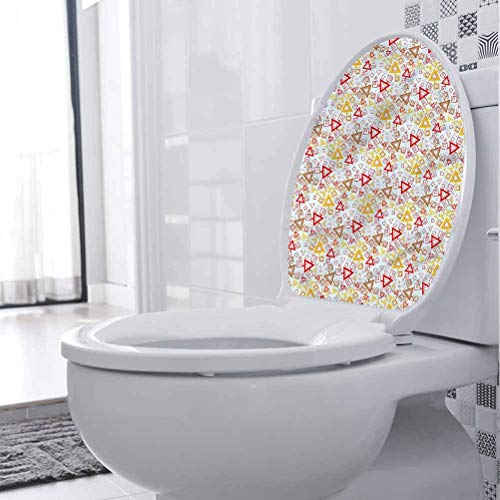 Cubierta de asiento de inodoro abstracto, vívívido cuadrado triángulo baño extraíble PVC papel pintado para inodoro baño hogar silla closestool sofá 30 x 35 cm