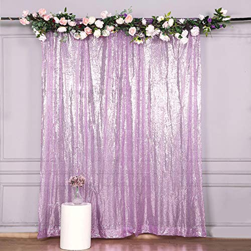 Efavormart 8ft Lavender Sequin Photo Booth Backdrop Photography Backdrop with Rod Pockets