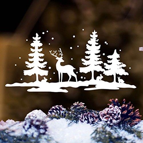 Wandtattoo-Loft Fensterbild Schneelandschaft mit Hirsch und Häschen/Fenster Dekoration in der Farbe weiß Weihnachts Fensteraufkleber / 3 Größen / / 45 cm breit x 22 cm hoch