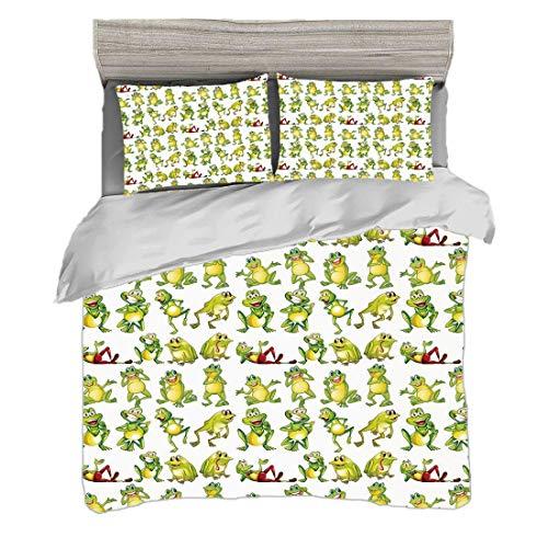 Bettwäscheset (240 x 260cm) mit 2 Kissenbezügen Kindergarten Digitaldruck Bettwäsche Frösche in den verschiedenen Positionen lustiger glücklicher netter Ausdrucks-Gesichts-Kröten-Cartoon, grünes gelbe