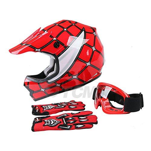 TCMT Dot Youth & Kids Motocross Offroad Street Helmet Red Spider Motorcycle Youth Helmet Dirt Bike Motocross ATV Helmet+Goggles+Gloves XL