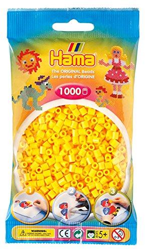 Hama Perlen 207-03 Bügelperlen Beutel mit ca. 1.000 Midi Bastelperlen mit Durchmesser 5 mm in gelb, kreativer Bastelspaß für Groß und Klein