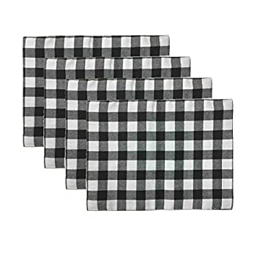 Aothpher Set of 4 Trellis Placemats Geometric Black & White Checked Square Table Place Mats Buffalo for Dining Table, 12x16 Inches, Double-deck