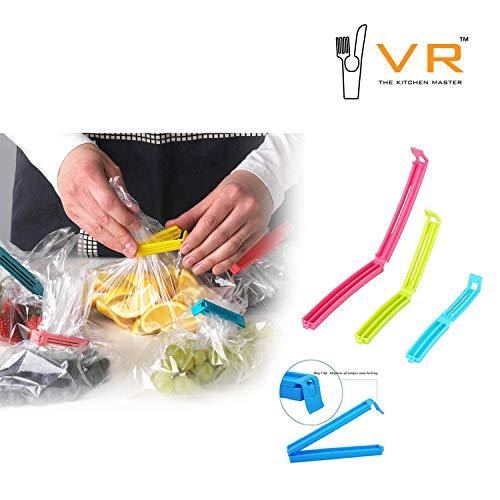 VR 18 Pcs - 3 Different Size Plastic Food Snack Bag Pouch Clip Sealer Large, Medium, Small Plastic Snack Seal Sealing Bag Clips Vacuum Sealer (Set of 18, Multi-Color) (Multicolor)