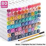 Alcohol Markers 80 Colors Dual Tips Permanent Art Markers Pen for Kids