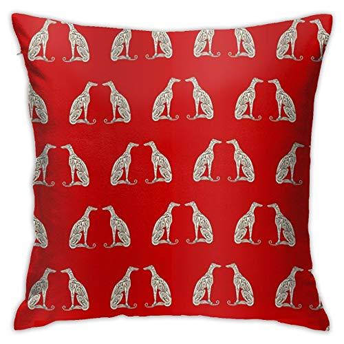 jhgfd7523 Funda de almohada doble galgos – Funda de almohada decorativa roja atrevida decoración del hogar cuadrada 45,7 x 45,7 cm