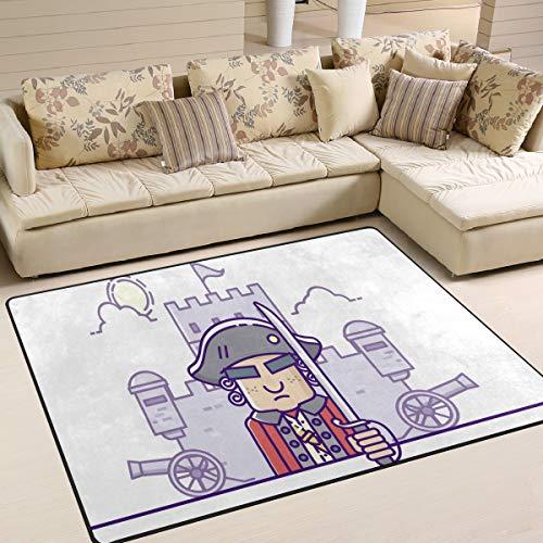 ALINLO Teppich, kolonial, lustiger Cartoon-Teppich, rutschfest, für Innen- und Außenbereich, Eingangstür, Badezimmer, Heimdeko, 1,2 x 1,5 m, Polyester, Mehrfarbig, 63 x 48 inch