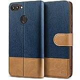 BEZ Handyhülle für Huawei P Smart Hülle, Tasche Kompatibel für Huawei P Smart, Schutzhüllen aus Klappetui mit Kreditkartenhaltern, Ständer, Magnetverschluss, Blaue Marine