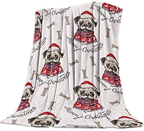 Manta de forro polar de franela ligera acogedora para perros y huesos de Navidad, manta de forro polar grande, ligera y decorativa, 101,6 x 127 cm