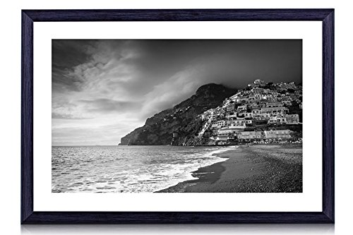 """Positano Coast, Italy - Art Print Black Wood Framed Wall Art Picture For Home Decoration - Black and White - 24""""x16"""" (60cmx40cm) - Framed"""