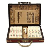 Jannyshop 144 Tiles Chinese Mahjong Set Portable with Deluxe Retro Style Leather Box for Home Party
