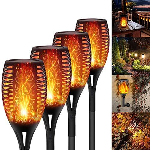 Luces LED de antorcha solar de 96 LED mejoradas, llama parpadeante a prueba de agua, focos de llama de baile al aire libre, encendido/apagado automático de anochecer a amanecer (llama parpadeante)