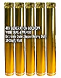 AMERIQUE AMEVA100PK5G Gold 500SQFT 4TH Generation High-Density Luxury 2.5MM Thick EVA Foam Flooring Underlayment Padding with Tape & Vapor Barrier, 100SF Per Roll, Pack of 5, 500 Square Feet