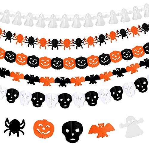 TaimeiMao 6 STK Halloween Deko Set,Halloween Girlande,Halloween Decoration, Halloween Banner,Halloween Girlande Spinne Girlande Kürbis Banner Papier Hängendeko für Karneval Halloween Party Garten