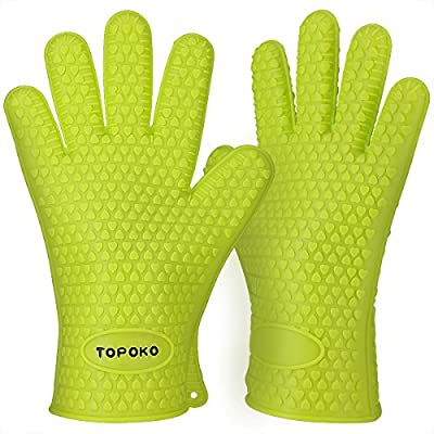 TOPULORS Oven Mitts Gloves Resistant Max Heat Silicone BBQ Grilling Gloves for Cooking Baking Barbecue Potholder