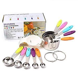 Juego de tazas y cucharas medidoras, con mangos de silicona suave, acero inoxidable, con separador de huevos (10 unidades) Incluye un separador de claras de huevo.