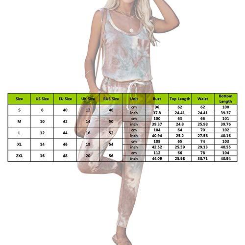 MoneRffi Womens Tracksuit Loungewear Set 2Pcs Tie Dye Printed Sports Jogging Suit Summer Sleeveless Sweatshirt Pullover Tops + Drawstring Jogger Pants Casual Loose Pajamas Sets(brown,L)