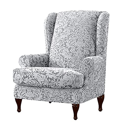 YNYEZBH 1 Juego Jacquard Wingback Chair Cover Spandex Stretch Armchair Cover Fundas Individuales para sofá Fundas para Oficina Wing Back Chair Protector S4ChairCover