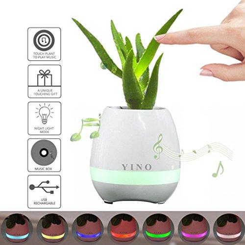 YINO - Vaso da fiori Bluetooth, altoparlante bluetooth ricaricabile, luce notturna LED 7colori, funzionamento touch come se si suonasse il piano White