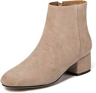 YXWL Boots and Booties for Women,Square Head Nubuck Leather with Thick Heel Booties Short Boots and Bare Boots Women's Boots