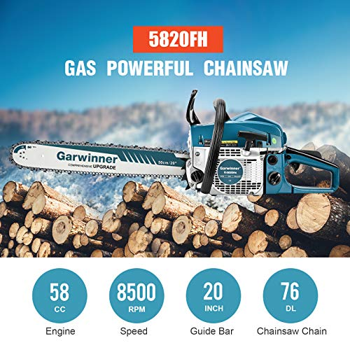 58cc Gas Chainsaws 20 Inch Bar Power Chain Saws, Gas Powered Chainsaw 2 Stroke Handed Petrol Gasoline Chain Saw for Cutting Wood Outdoor Garden Farm Home Use with Tool Kit