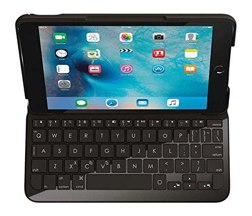 Logitech Focus iPad Mini 4 Hülle mit Kabelloser Tastatur, Bluetooth, USB-Anschluss, iOS-Sondertasten, 6-Monate Akkulaufzeit, Wasserabweisend, Italienisches QWERTY-Layout - schwarz