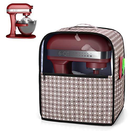 Yarwo Cubierta para Batidoras Amasadoras, Cubierta para KitchenAid Robots de Cocina 5.7 y 7.6 L, Funda Visible para Batidoras Amasadoras, con Asa y Bolsillos, Punto Gris