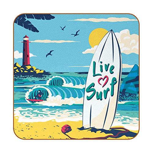 Posavasos cuadrados para bebidas, 6 piezas, de cuero, absorbentes para bebidas, regalo de inauguración de la casa para amigos, faro, surf, tabla de surf y ola