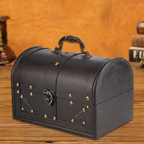 Caja de almacenamiento de joyas Material de madera Diseño de bisagra antigua...